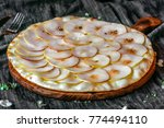 pizza pear toppings on a wooden ... | Shutterstock . vector #774494110