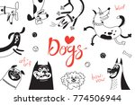 card with joyful dogs and happy ... | Shutterstock .eps vector #774506944