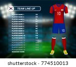 south korea soccer jersey kit... | Shutterstock .eps vector #774510013