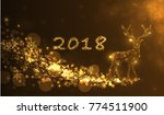 christmas card with silhouette... | Shutterstock .eps vector #774511900