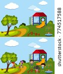 two scenes of playground with... | Shutterstock .eps vector #774517588