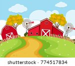 farm scene with red barns and... | Shutterstock .eps vector #774517834