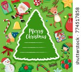 christmas card with santa and... | Shutterstock .eps vector #774517858