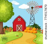 red barn and wind turbine on... | Shutterstock .eps vector #774517870