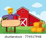 scarecrow and wooden sign in... | Shutterstock .eps vector #774517948