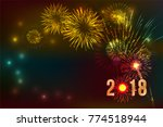 new year 2018  fireworks... | Shutterstock .eps vector #774518944