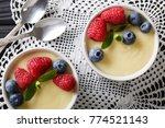 vanilla pudding decorated with... | Shutterstock . vector #774521143