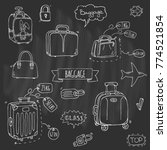 hand drawn doodle baggage icons ... | Shutterstock .eps vector #774521854