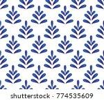ceramic blue leaves pattern... | Shutterstock .eps vector #774535609
