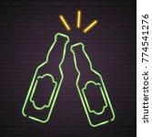 beer bottle glass neon light...   Shutterstock .eps vector #774541276