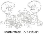 boys playing with bricks | Shutterstock .eps vector #774546004