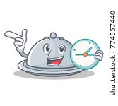 with clock tray character... | Shutterstock .eps vector #774557440