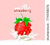 strawberries dipped in milk... | Shutterstock .eps vector #774558076