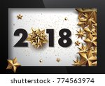 2018 merry christmas and happy... | Shutterstock .eps vector #774563974