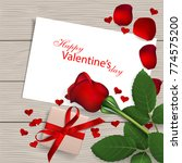 red rose with gift box on... | Shutterstock . vector #774575200