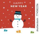 cute cartoon snowman with new...   Shutterstock .eps vector #774582256