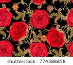 seamless pattern. golden... | Shutterstock . vector #774588658