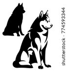sitting husky dog simple black... | Shutterstock .eps vector #774593344