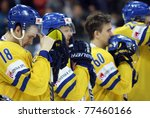 BRATISLAVA, SLOVAKIA, MAY 15: Swedish ice hockey players  lost the gold medal game of World Cup with Finnish team 6-1 on May 15, 2011 in Bratislava, Slovakia. - stock photo