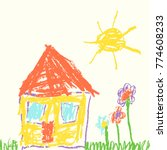 like child s hand drawn house.... | Shutterstock .eps vector #774608233
