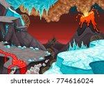 prehistoric landscape with fire ... | Shutterstock .eps vector #774616024