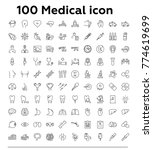 100 medical thin line vector... | Shutterstock .eps vector #774619699