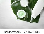 cosmetic products and green...   Shutterstock . vector #774622438