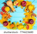autumn leaves  apples and... | Shutterstock . vector #774623680