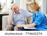 community nurse visits senior... | Shutterstock . vector #774642274