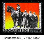 Small photo of MOSCOW, RUSSIA - NOVEMBER 23, 2017: A stamp printed in Belgium shows Military expedition, circa 1990