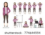 asian woman in office suit. set ... | Shutterstock .eps vector #774644554