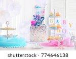"""he or she"" cake for baby... | Shutterstock . vector #774646138"