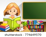 child reading books in the... | Shutterstock .eps vector #774649570