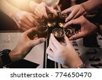 cheers clinking of friends with ... | Shutterstock . vector #774650470