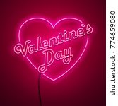 valentines day neon sign.... | Shutterstock .eps vector #774659080