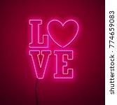 valentines day neon sign....   Shutterstock .eps vector #774659083