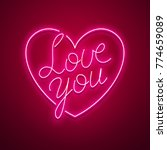 valentines day neon sign.... | Shutterstock .eps vector #774659089