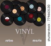 a beautiful vinyl record. music.... | Shutterstock .eps vector #774663130