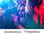 Stock photo dance party with group people dancing how to pick up girls at a club women and men have fun in 774668563