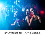 Stock photo dance party with group people dancing women and men have fun in night club happy girl on 774668566