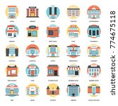 flat vector icons set of... | Shutterstock .eps vector #774675118