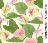 seamless tropical pattern with... | Shutterstock .eps vector #774680740