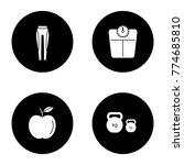 fitness glyph icons set. sport... | Shutterstock .eps vector #774685810