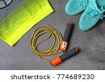 composition with jumping rope... | Shutterstock . vector #774689230