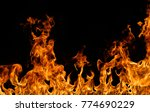 fire flames on black background. | Shutterstock . vector #774690229