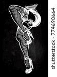ornate dancing female legs in... | Shutterstock .eps vector #774690664