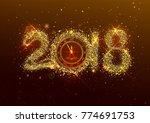 2018 new year number golden... | Shutterstock . vector #774691753