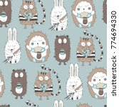 seamless pattern with cartoon... | Shutterstock .eps vector #774694330