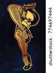 ornate dancing female legs in... | Shutterstock .eps vector #774697444
