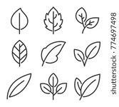 leaves line vector icon set  | Shutterstock .eps vector #774697498